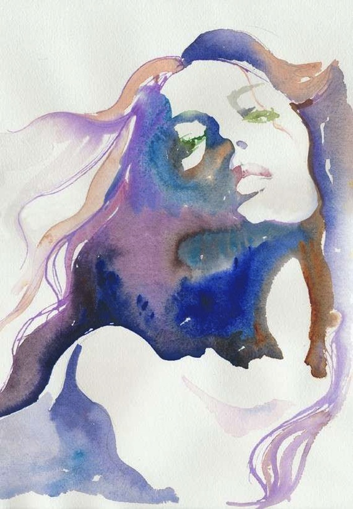 Blue watercolor illustration of melancholy woman by Cate Parr. Click to read more