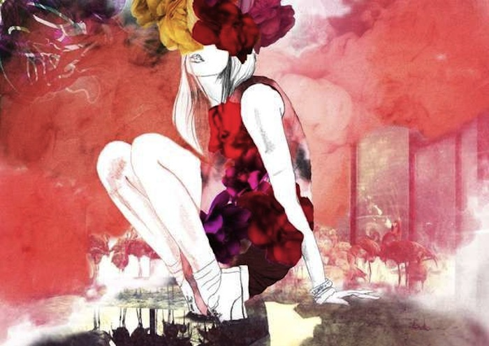 Red fashion illustration of a woman with flowers by Belinda Chen.