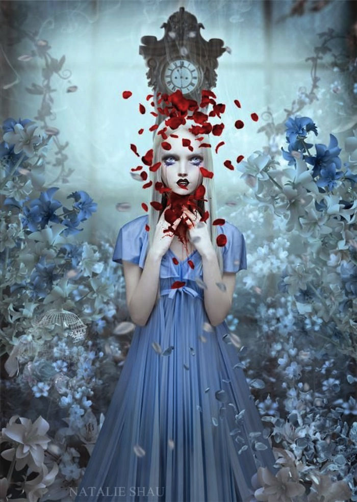 Girl bleeding petals by Natalie Shau for a spiritual Halloween. Read more at Thenuminous.net!