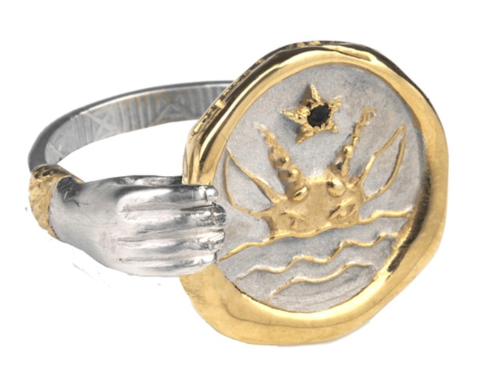 Cancer Zodiac Hand ring by Jessica de Lotz and Louise Androlia. Click to read more!