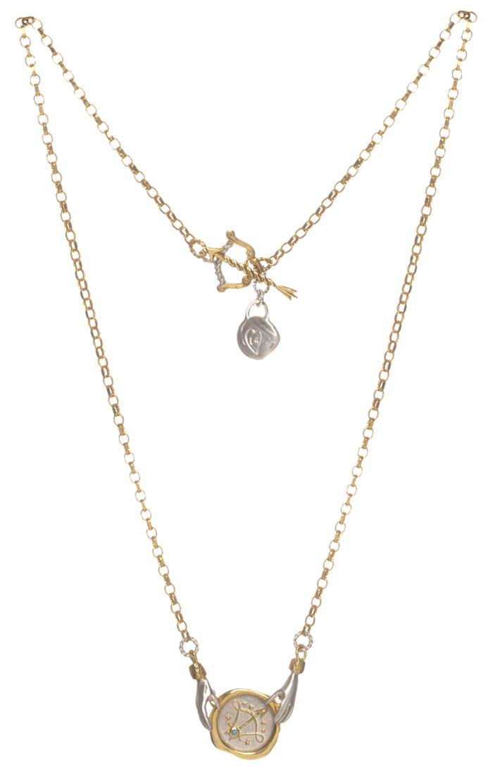 Small Sagittarius Zodiac necklace by Jessica de Lotz and Louise Androlia. Click to read more!