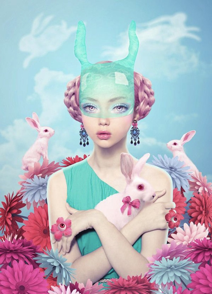 Girl in a rabbit mask with white rabbits by Natalie Shau Read more at Thenuminous.net!