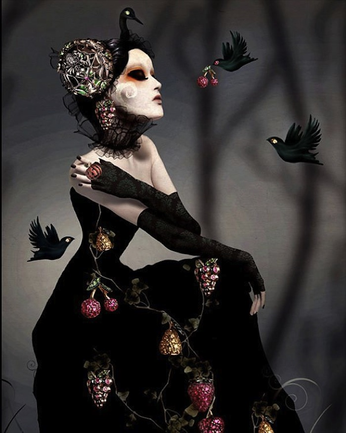 Goth woman with blackbirds by Natalie Shau. Read more at Thenuminous.net!