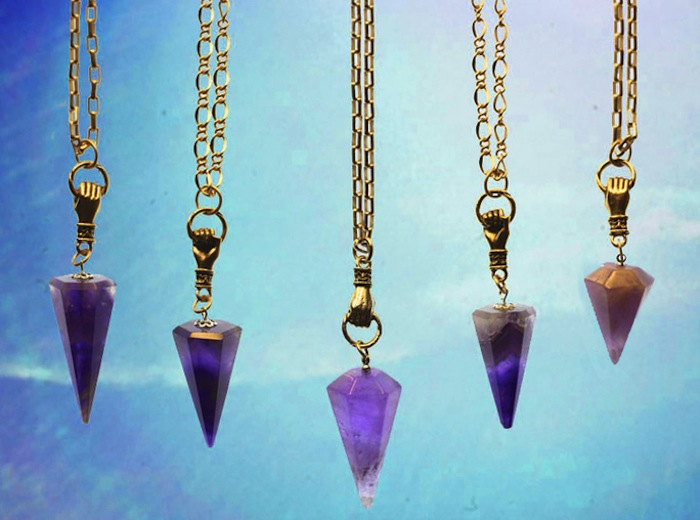 Pendulum pendants, $85 each, Pound Jewelry. Read more at TheNuminous.net!