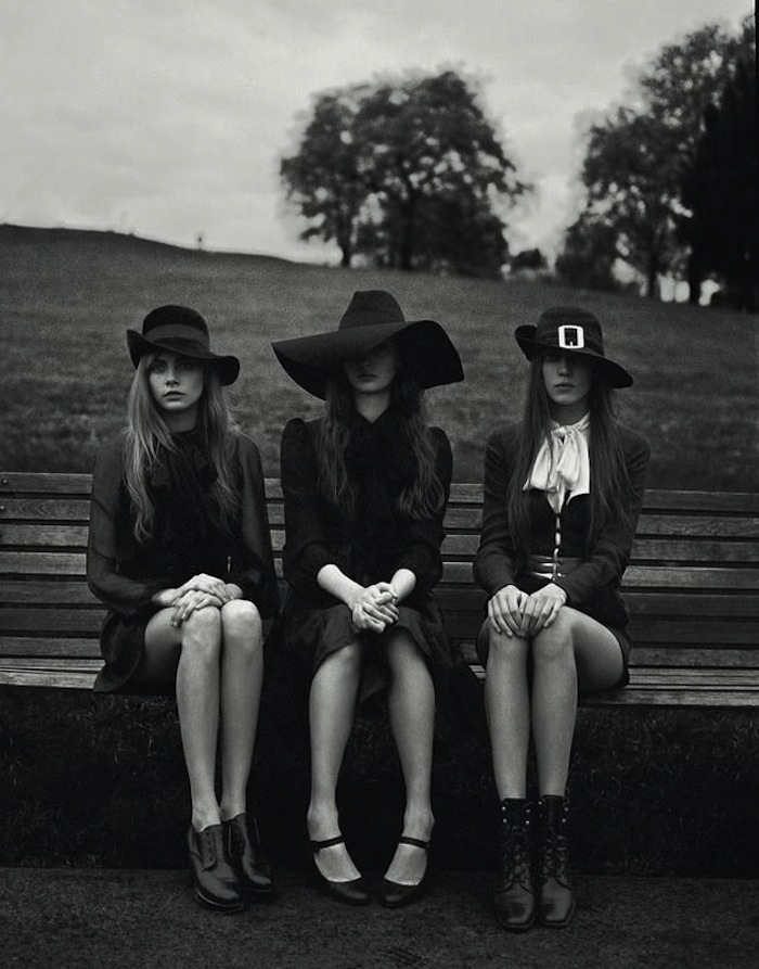 Cara and her coven, photographed by Richard Bush for i-D magazine featured on TheNuminous.net