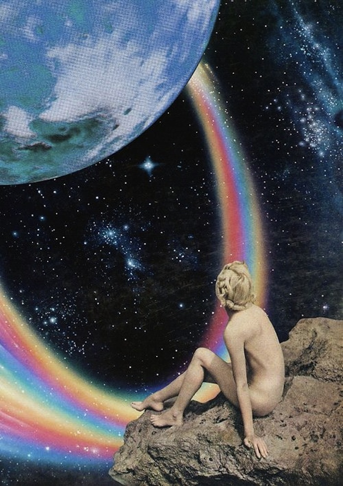 A naked girl looking at the Earth from outer space by Mariano Peccinetti on TheNuminous.net