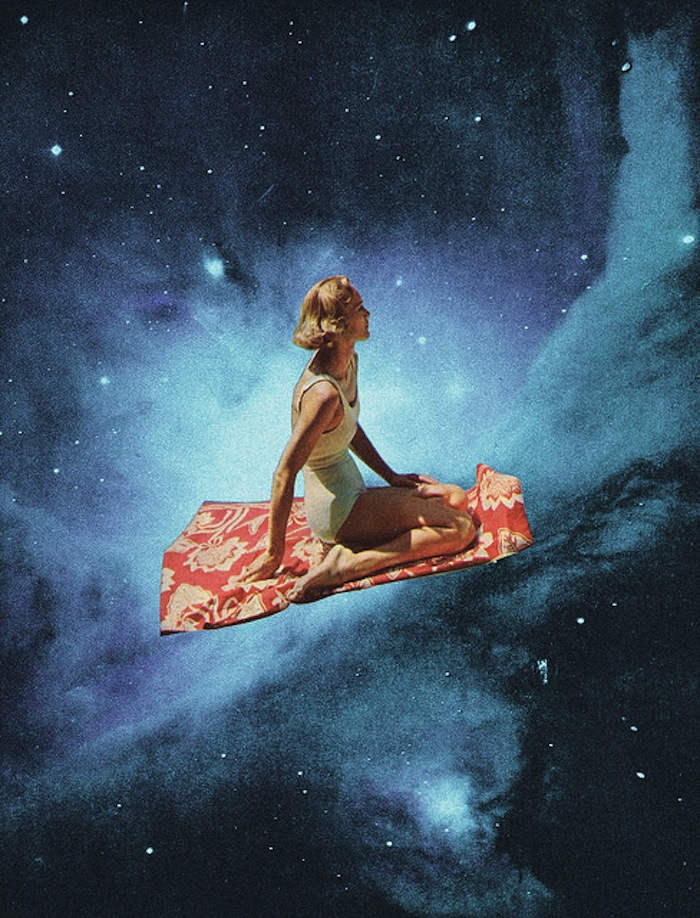 Girl on a flying carpet in outer space by Mariano PIccinetti on TheNuminous.net
