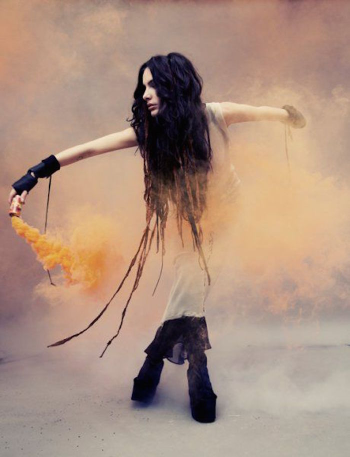 Boho goth with orange smoke fashion shoot on Thenuminous.net