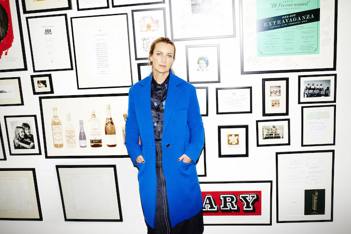 Fashion designer Anya Hindmarch in a blue coat featured on Thenuminous.net