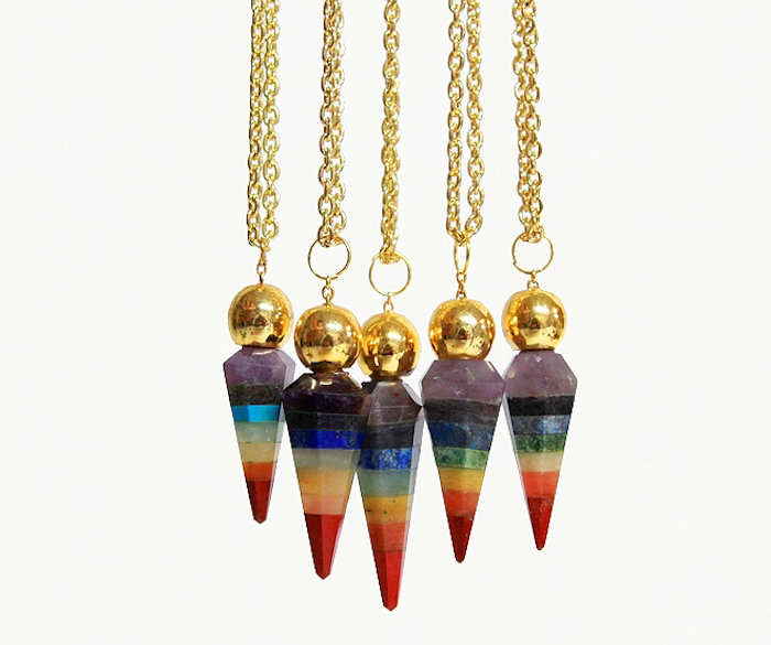Rainbow Chakra Pendulum Necklace, $42 from Crystal Cactus featured in The Numinous interview with Audrey Kitching