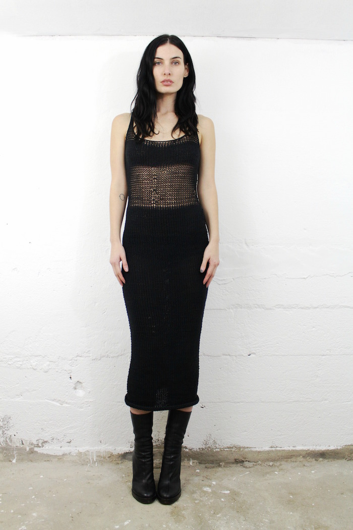 sotbm black crochet shroud dress on the numinous
