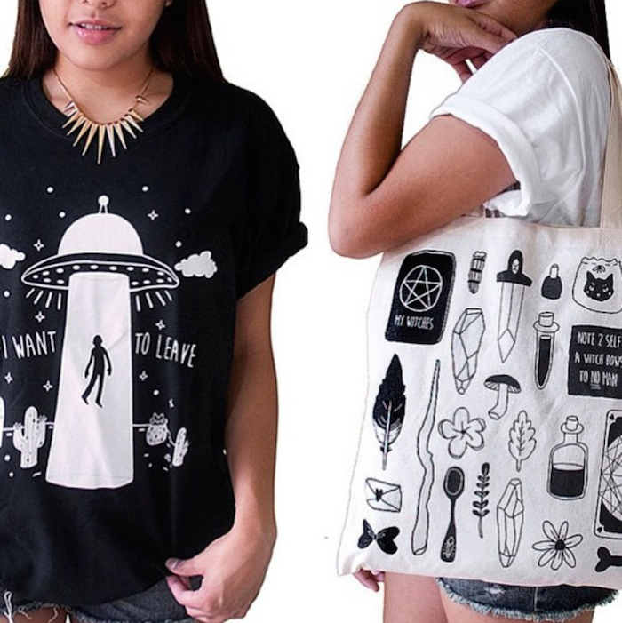 Danny Brito Alien t-shirt and witch tote on the Numinous