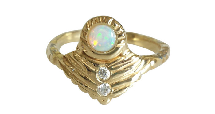Journey Shield ring, $1025, Communion by Joy on The Numinous