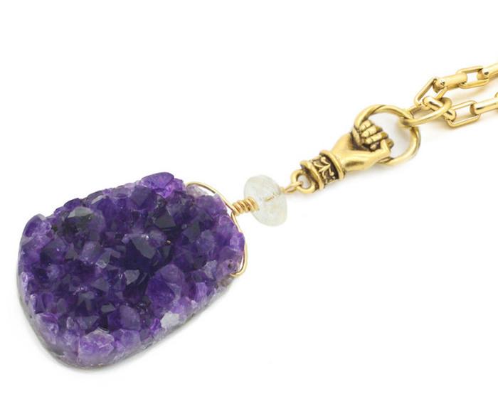Amethyst pendant, $185, Pound Jewelry