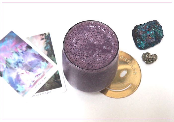 My new smoothie + current desk buddies: Chalcopyrite (Peacock Ore) and Pyrite