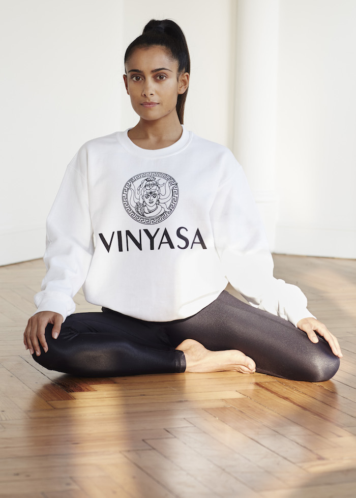 Shona Vertue white vinyasa sweatshirt on The Numinous