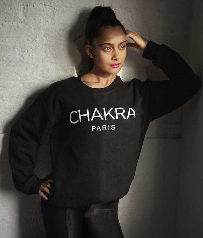 Shona Vertue black chakra sweatshirt on The Numinous