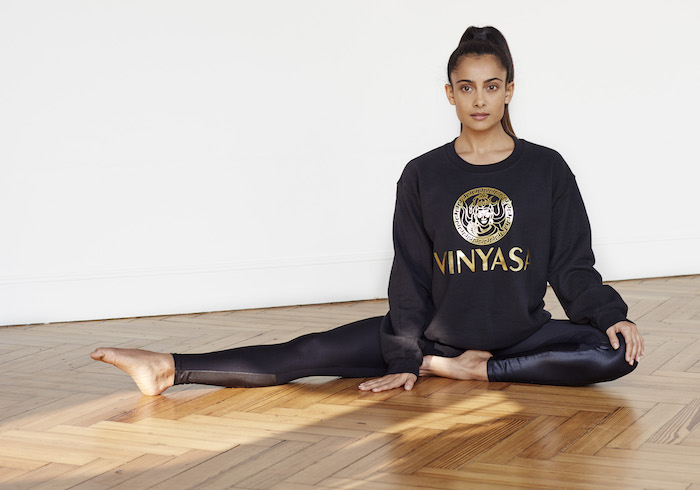 Shona Vertue black and gold Vinyasa sweatshirt on The Numinous