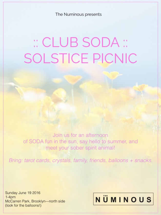 club soda summer solstice picnic on the numinous inner work break