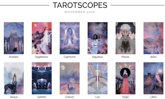 November Tarotscopes tarot coloring book on The Numinous