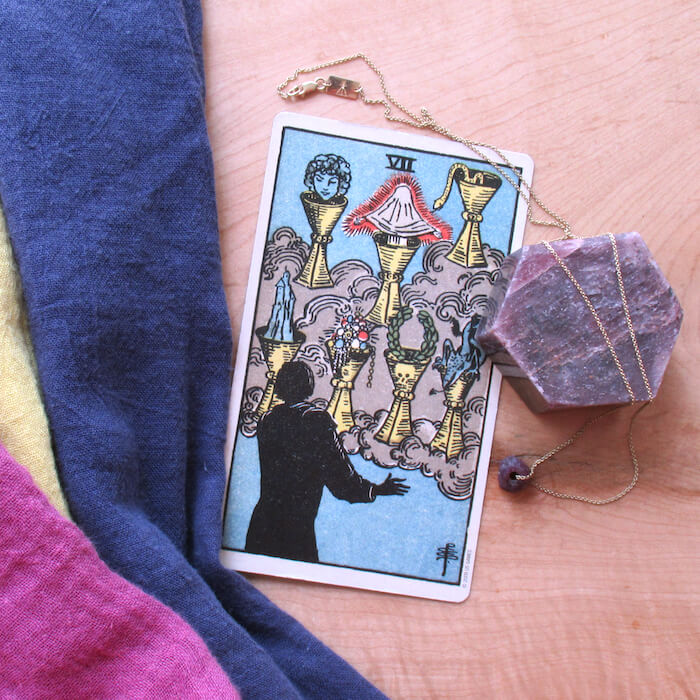 melinda lee holm ruby warrington the numinous tarot cards for june 2017 rider waite rider-waite tarot jewelry 7 of cups seven of cups