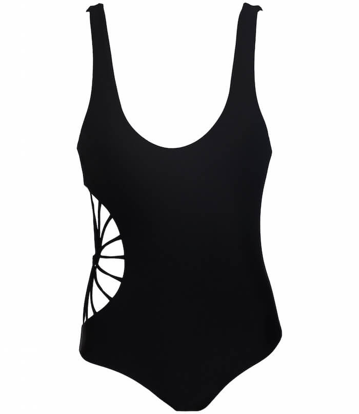 swimwear style for your sign the numinous Aquarius black Cami and Jax swimsuit cutaway