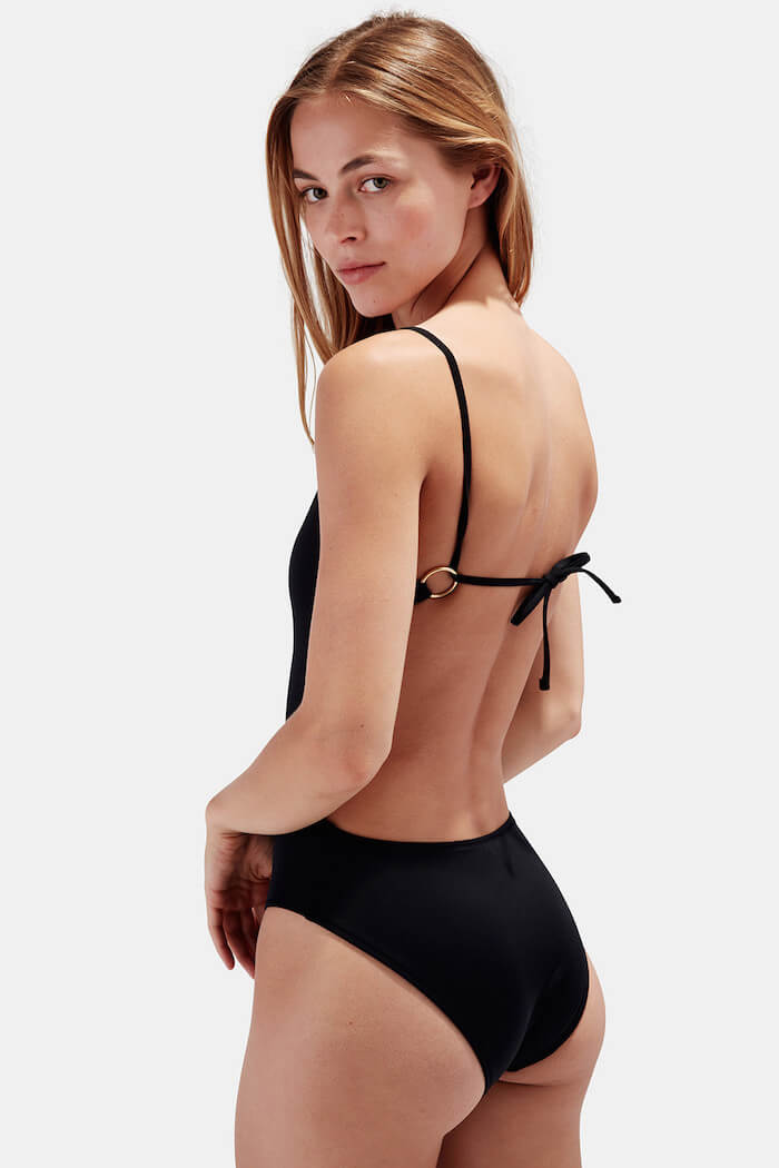 swimwear style for your sign the numinous Virgo black swimsuit solid + striped