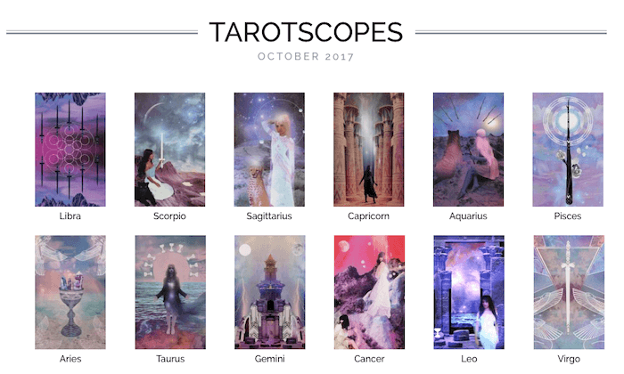 numinous monthly tarotscopes october 2017 numinous tarotscopes ruby warrington lindsay mack material girl mystical world starchild tarot